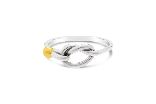 Cape Cod Love Knot Ring - Solid Silver/Rhodium Gold