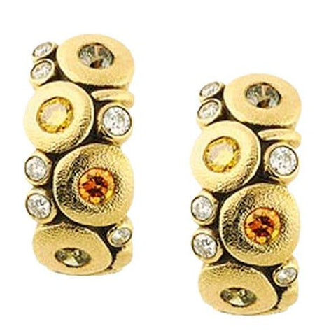 E-122DC alex sepkus candy earrings 18k yellow gold natural color diamonds