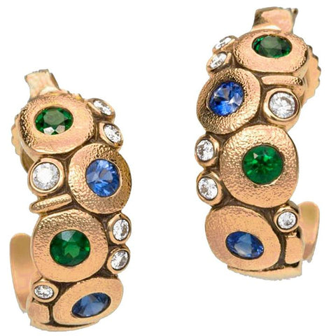 18k rose gold r-122rs candy earrings 18k rose gold blue green mix sapphire tsavorites