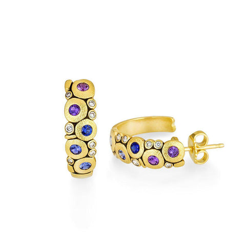 E-123S Alex Sepkus Candy Earrings Large, 18l Yellow gold with blue/purple sapphire mix and diamonds