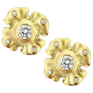 e-221D Alex Sepkus earrings Quatrefoil 18k yellow gold diamond stud earrings e221