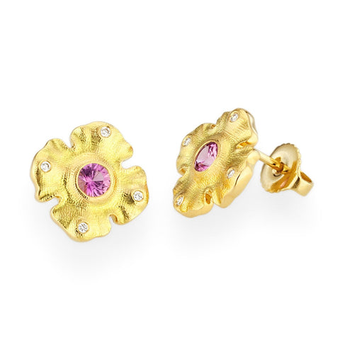 E-221S Alex Sepkus Quatrefoil 18k Yellow Gold Pink Sapphire and diamonds stud earrings