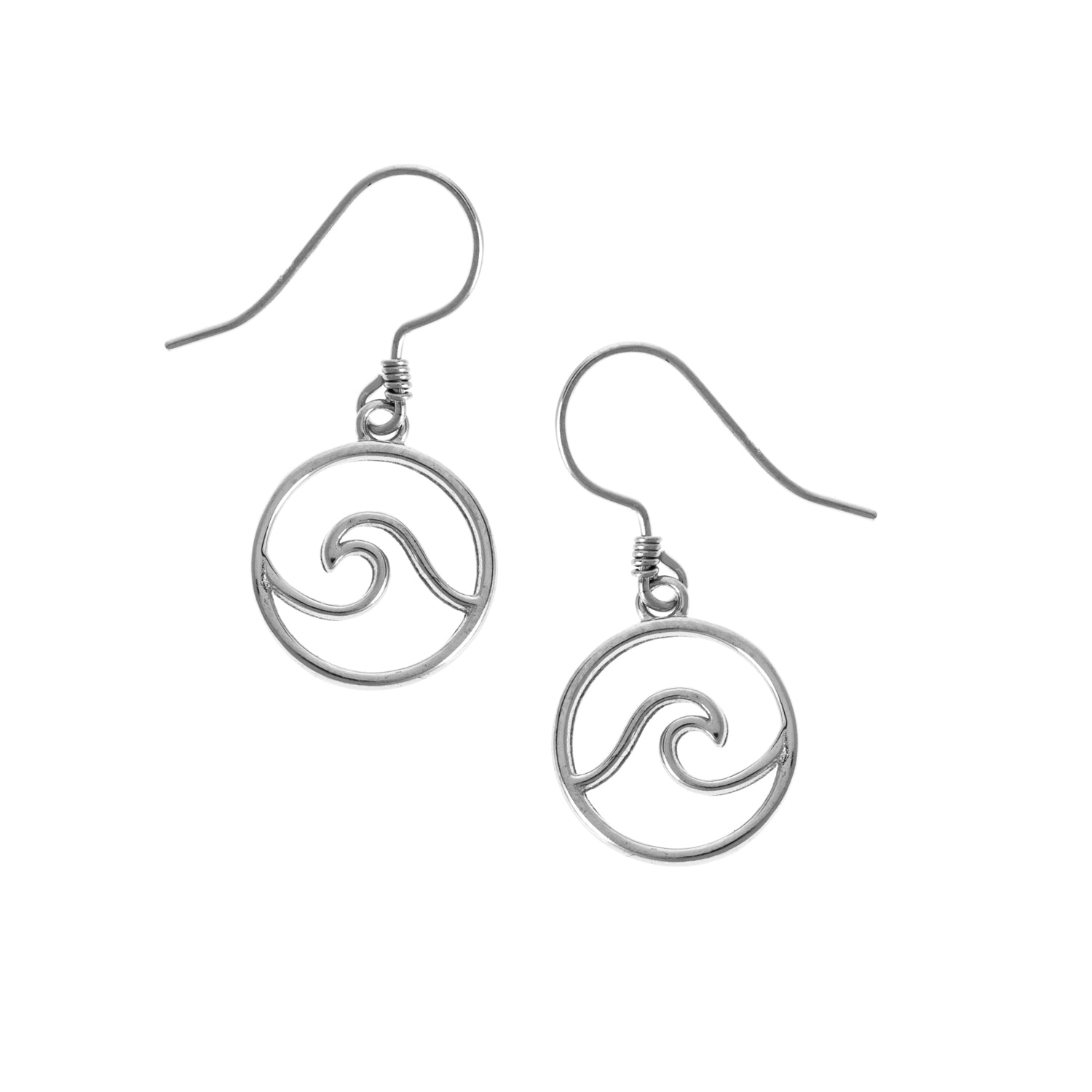 cape cod wave drop earrings made of 925 sterling silver for Michael's custom jewelers on Cape Cod