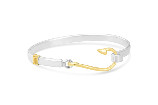 Fish Hook Bracelet - Solid Silver/Rhodium Gold