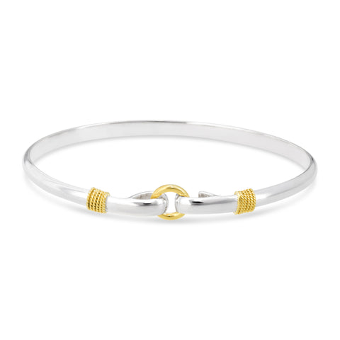 porthole nautical bangle, center circle sterling silver bracelet, gold tone central circle made on Cape Cod