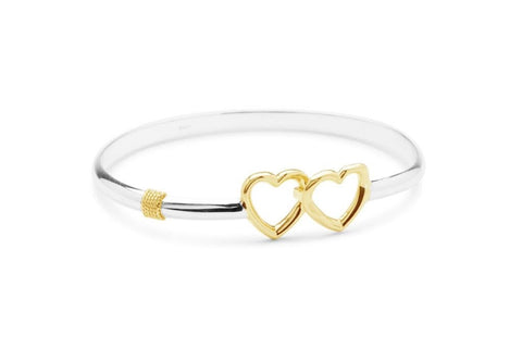 Double Heart Bracelet - Solid Silver/Rhodium Gold
