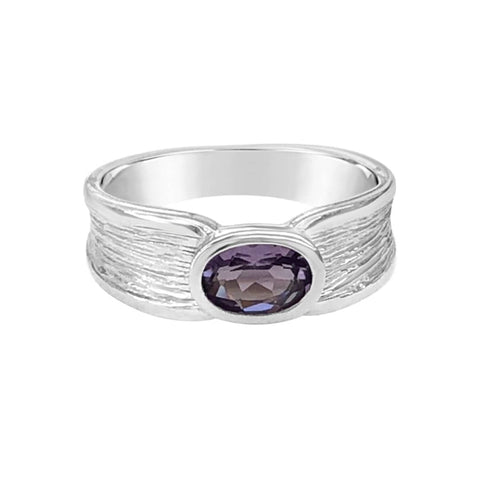 harmony sterling silver ring amethyst semiprecious gemstone band