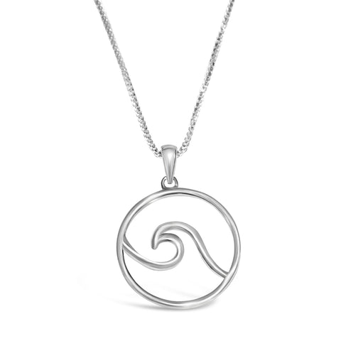 Wave necklace sterling silver large nautical pendant wave made on cape cod