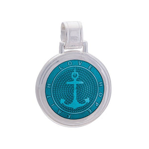 Lola anchor teal pendant, 925 sterling silver nautical large pendant anchor nantucket provincetown jewelry
