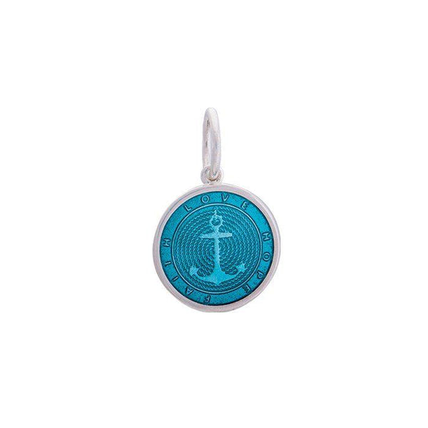 Lola anchor teal pendant, 925 sterling silver nautical Small pendant anchor nantucket provincetown jewelry