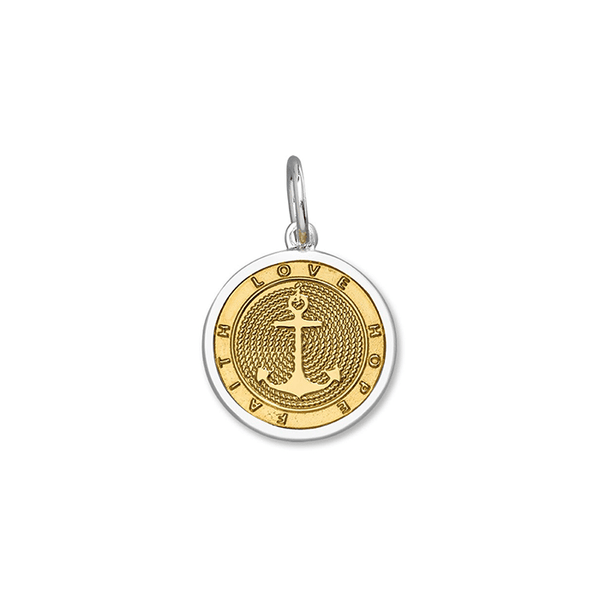 LOLA anchor gold center pendant, gold vermeil nautical pendant, 925 silver gold nautical anchor pendant Small nantucket provincetown