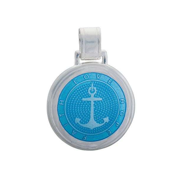LOLA Anchor Pendant, Light Blue Enamel Inlay nautical anchor pendant, 925 silver anchor Large pendant nantucket provincetown