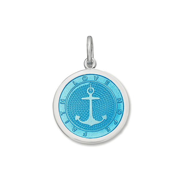 LOLA Anchor Pendant, Light Blue Enamel Inlay nautical anchor pendant, 925 silver anchor Medium pendant nantucket provincetown