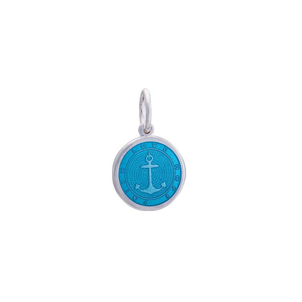 LOLA Anchor Pendant, Light Blue Enamel Inlay nautical anchor pendant, 925 silver anchor Small pendant nantucket provincetown