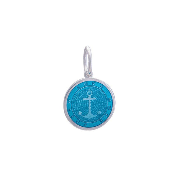 LOLA Anchor Pendant, Light Blue Enamel Inlay nautical anchor pendant, 925 silver anchor Mini pendant nantucket provincetown