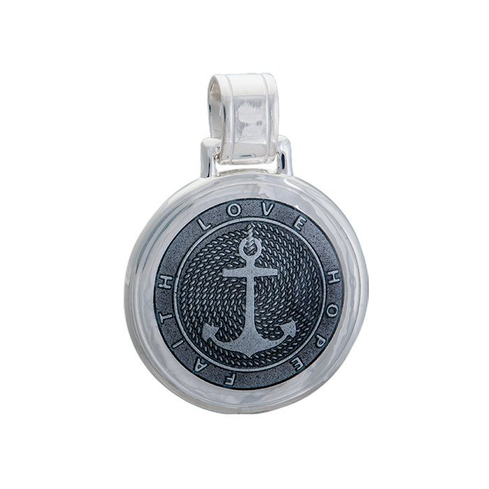 Lola anchor pendant pewter enamel inlay Large color nautical pendant nantucket provincetown