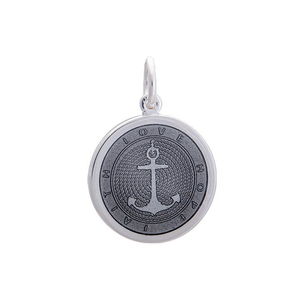 Lola anchor pendant pewter enamel inlay Medium color nautical pendant nantucket provincetown
