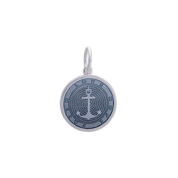 Lola anchor pendant pewter enamel inlay Small color nautical pendant nantucket provincetown