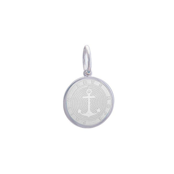 Lola anchor pendant alpine white enamel inlay Small color nautical pendant nantucket provincetown