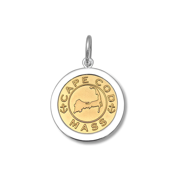 Lola Cape Cod Map Pendant Gold Center, cape cod map sterling silver pendant Medium nantucket provincetown