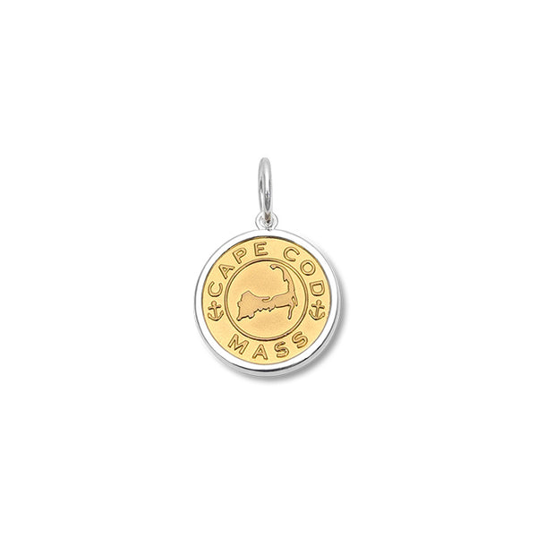 Lola Cape Cod Map Pendant Gold Center, cape cod map sterling silver pendant Small nantucket provincetown