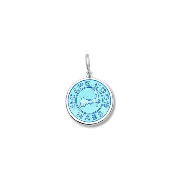 Lola Cape Cod Map Pendant Light Blue Enamel , cape cod map 925 sterling silver pendant Small nantucket provincetown
