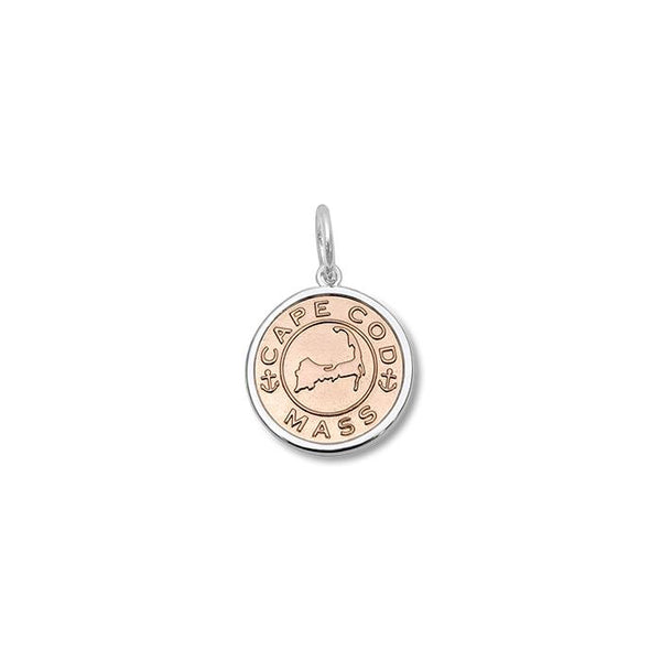 Lola Cape Cod Map Pendant Rose Gold Center, cape cod map sterling silver pendant Small nantucket provincetown