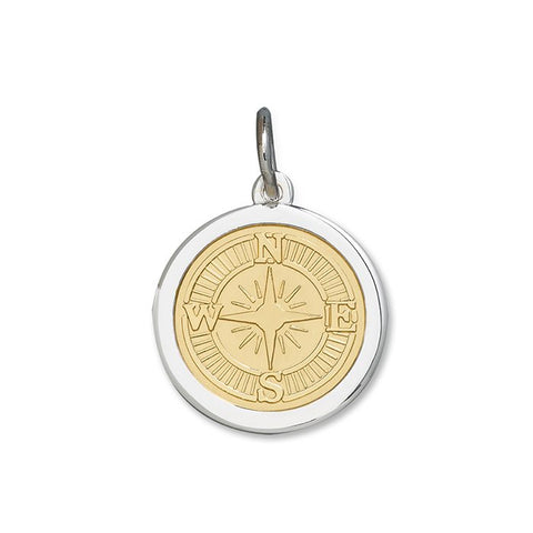LOLA compass rose pendant gold center, 925 sterling silver compass rose pendant gold vermeil, silver Medium compass rose Nantucket Provincetown Jewelry