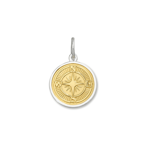 LOLA compass rose pendant gold center, 925 sterling silver compass rose pendant gold vermeil, silver Small compass rose Nantucket Provincetown Jewelry