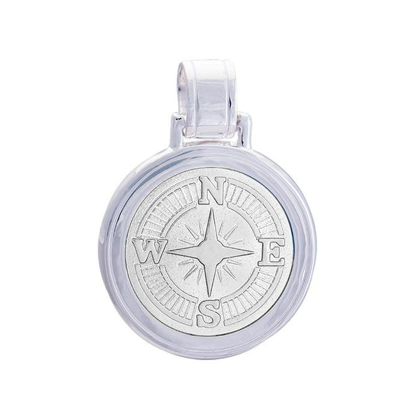 LOLA compass rose pendant alpine white enamel center, 925 sterling silver compass rose pendant, silver Large compass rose Nantucket Provincetown Jewelry