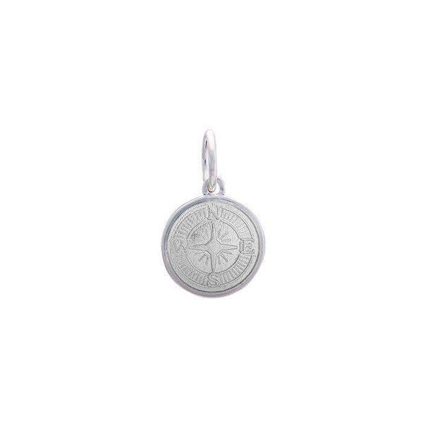 LOLA compass rose pendant alpine white enamel center, 925 sterling silver compass rose pendant, silver Mini compass rose Nantucket Provincetown Jewelry