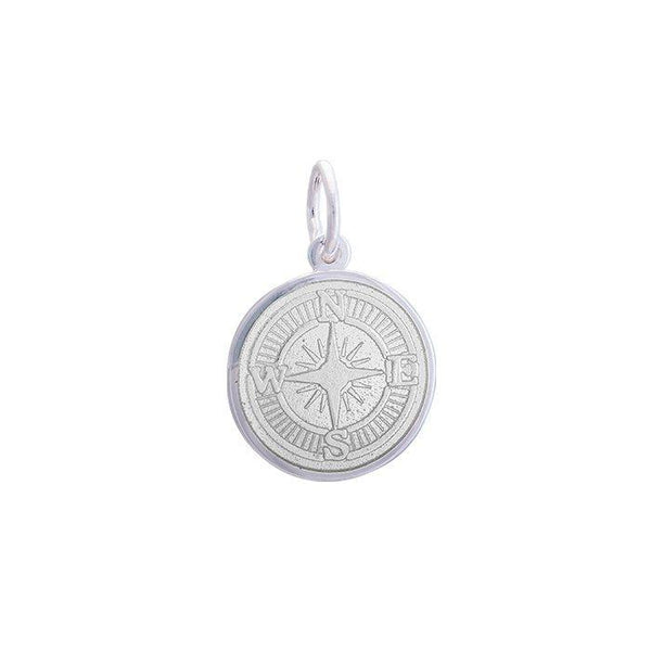 LOLA compass rose pendant alpine white enamel center, 925 sterling silver compass rose pendant, silver Small compass rose Nantucket Provincetown Jewelry