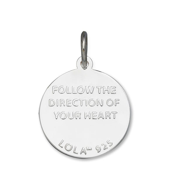 Follow the direction of your heart LOLA compass rose pendant alpine white enamel center, 925 sterling silver compass rose pendant, silver Backside compass rose Nantucket Provincetown Jewelry