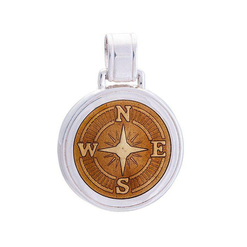 LOLA compass rose pendant bronze enamel center, 925 sterling silver compass rose pendant, silver Large compass rose Nantucket Provincetown Jewelry