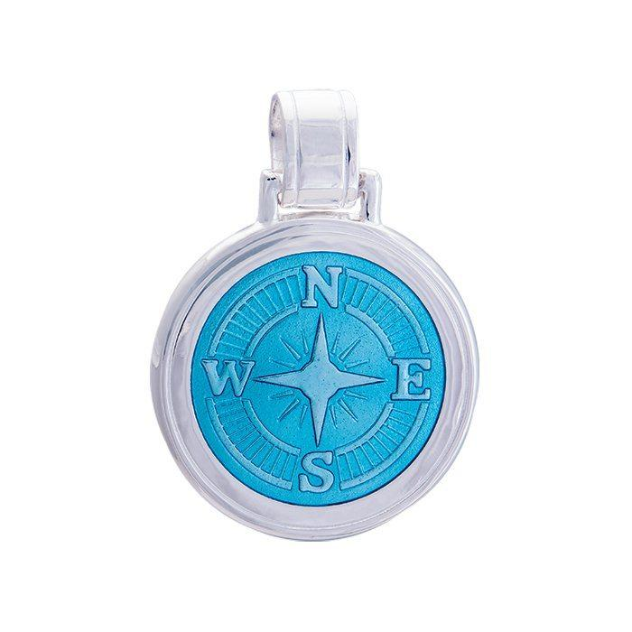 LOLA Compass Rose pendant with a light blue enamel center, 925 sterling silver compass rose pendant, Large nautical compass rose provincetown nantucket jewelry