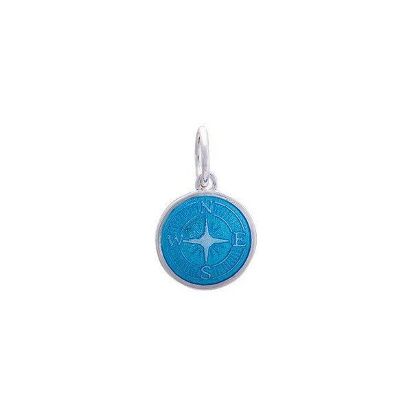 LOLA Compass Rose pendant with a light blue enamel center, 925 sterling silver compass rose pendant, Mini nautical compass rose provincetown nantucket jewelry