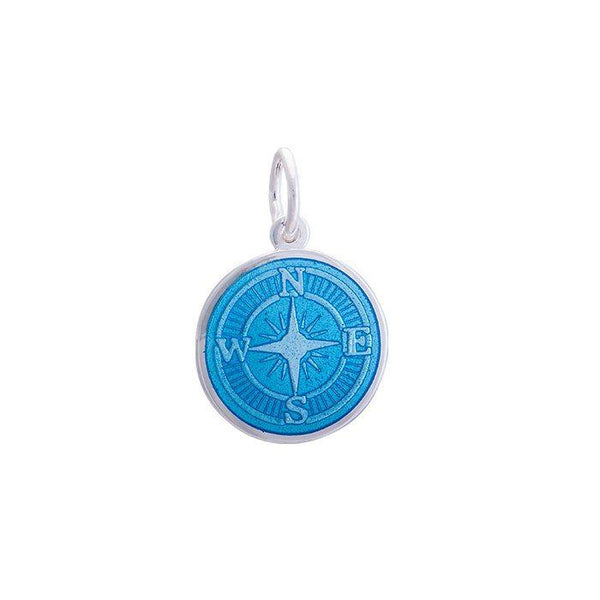 LOLA Compass Rose pendant with a light blue enamel center, 925 sterling silver compass rose pendant, Small nautical compass rose provincetown nantucket jewelry