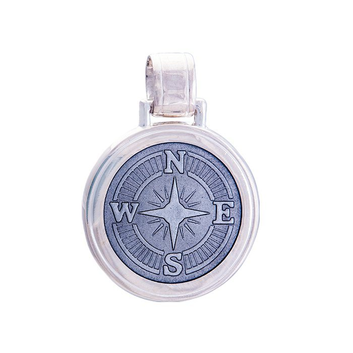 LOLA compass rose pendant pewter enamel center, 925 sterling silver compass rose pendant, silver Large compass rose Nantucket Provincetown Jewelry