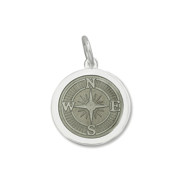 LOLA compass rose pendant pewter enamel center, 925 sterling silver compass rose pendant, silver Medium compass rose Nantucket Provincetown Jewelry