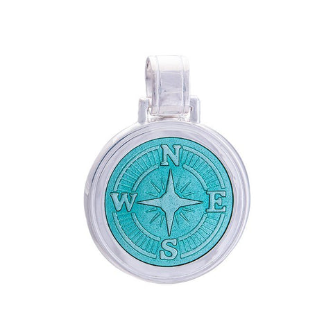 LOLA Compass Rose pendant with a seafoam enamel center, 925 sterling silver compass rose pendant, Large nautical compass rose provincetown nantucket jewelry