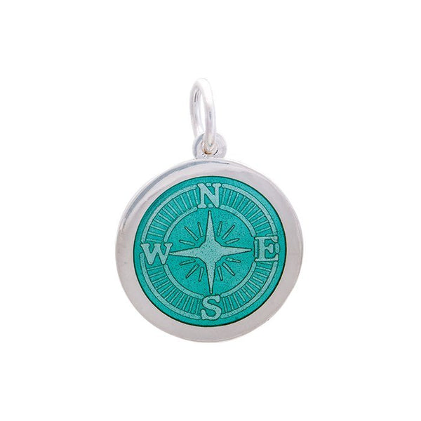LOLA Compass Rose pendant with a seafoam enamel center, 925 sterling silver compass rose pendant, Medium nautical compass rose provincetown nantucket jewelry