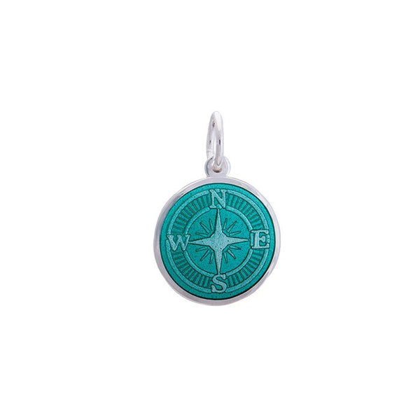 LOLA Compass Rose pendant with a seafoam enamel center, 925 sterling silver compass rose pendant, Small nautical compass rose provincetown nantucket jewelry