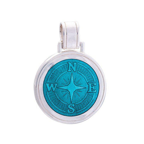 LOLA Compass Rose pendant with a teal enamel center, 925 sterling silver compass rose pendant, Large nautical compass rose provincetown nantucket jewelry