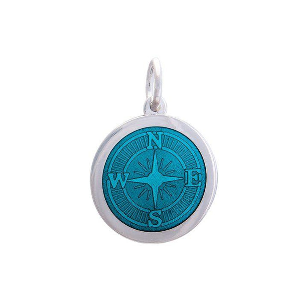 LOLA Compass Rose pendant with a teal enamel center, 925 sterling silver compass rose pendant, Medium nautical compass rose provincetown nantucket jewelry