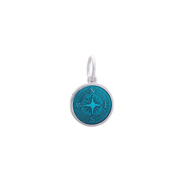 LOLA Compass Rose pendant with a teal enamel center, 925 sterling silver compass rose pendant, Mini nautical compass rose provincetown nantucket jewelry