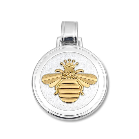 Lola queen bee pendant alpine white enamel gold vermeil bee large