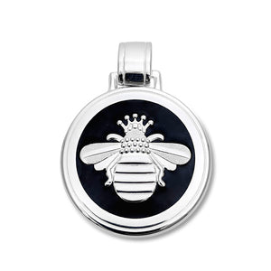 Lola queen bee pendant black enamel silver bee large