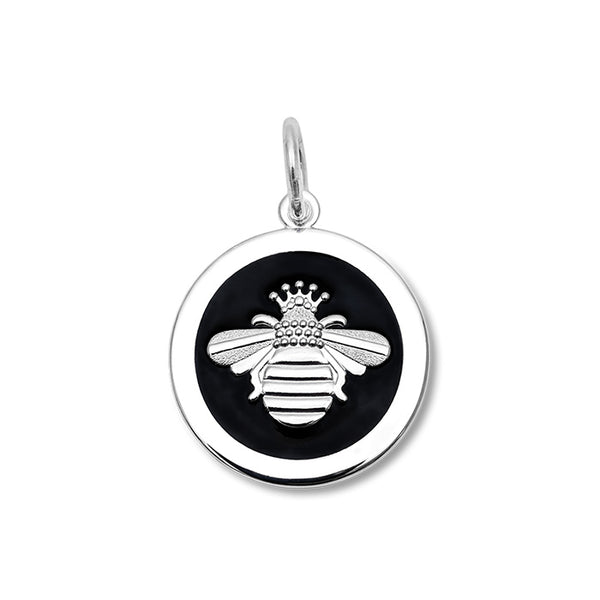 Lola queen bee pendant black enamel silver bee medium