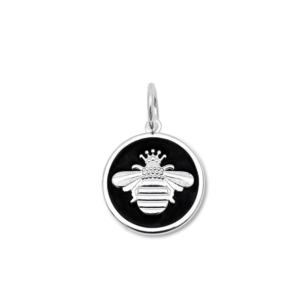 Lola queen bee pendant black enamel silver bee small