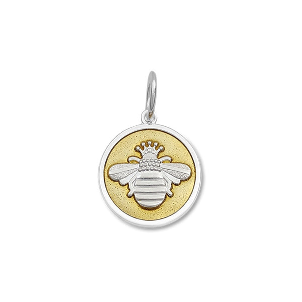 lola queen bee pendant gold enamel silver bee small